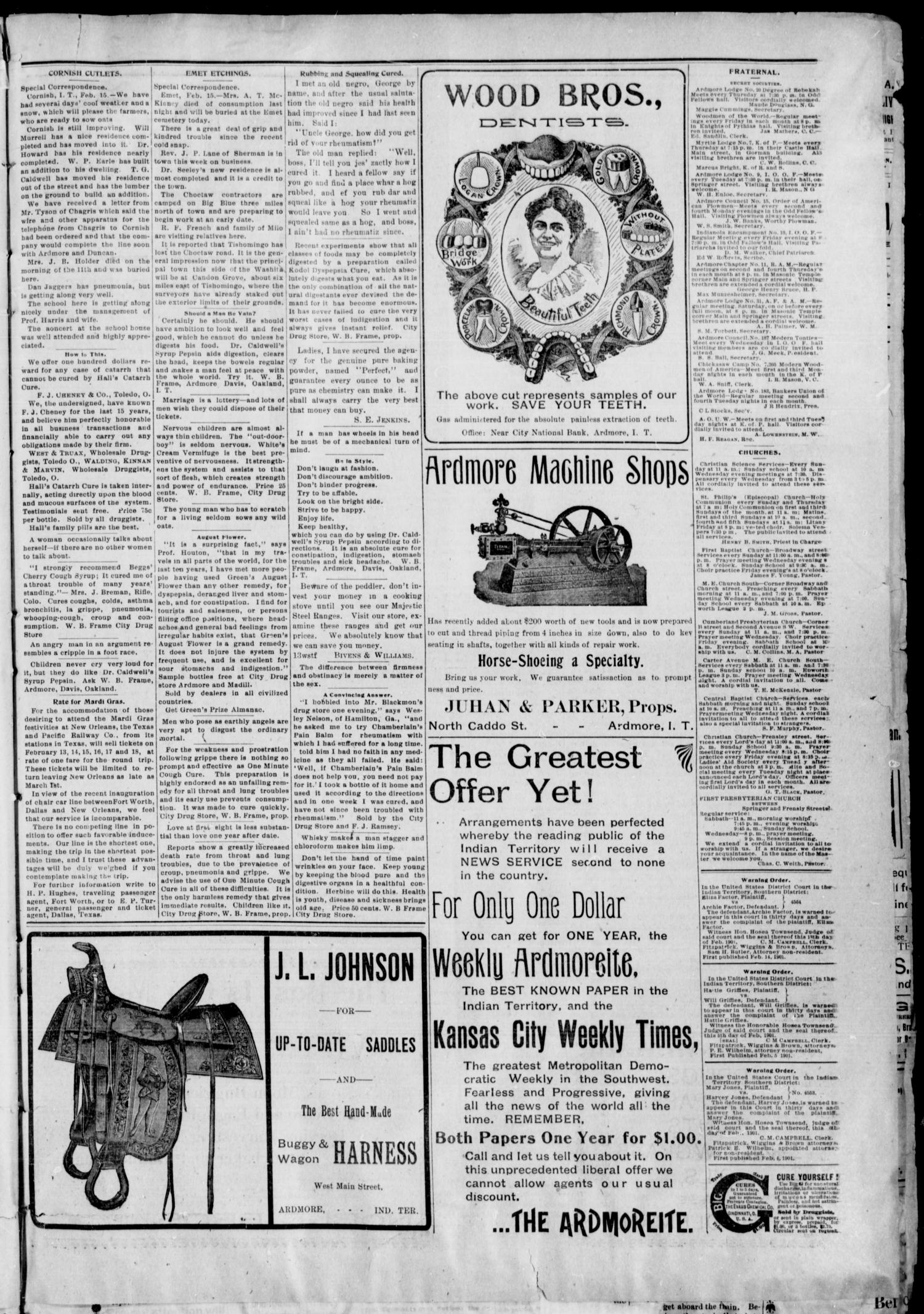 The Daily Ardmoreite. (Ardmore, Indian Terr.), Vol. 8, No. 94, Ed. 1, Sunday, February 17, 1901                                                                                                      [Sequence #]: 7 of 8