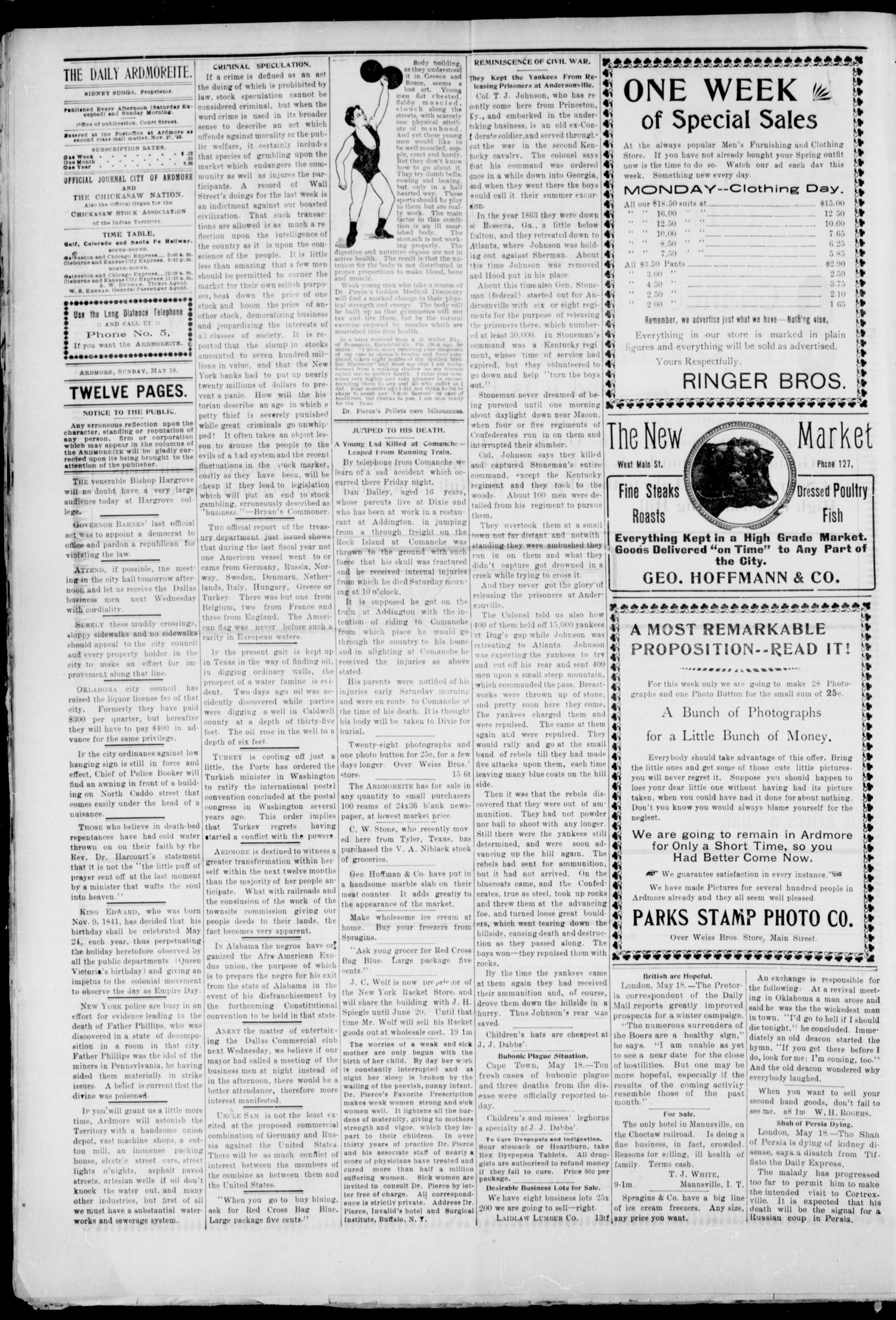 The Daily Ardmoreite. (Ardmore, Indian Terr.), Vol. 8, No. 172, Ed. 1, Sunday, May 19, 1901                                                                                                      [Sequence #]: 4 of 12