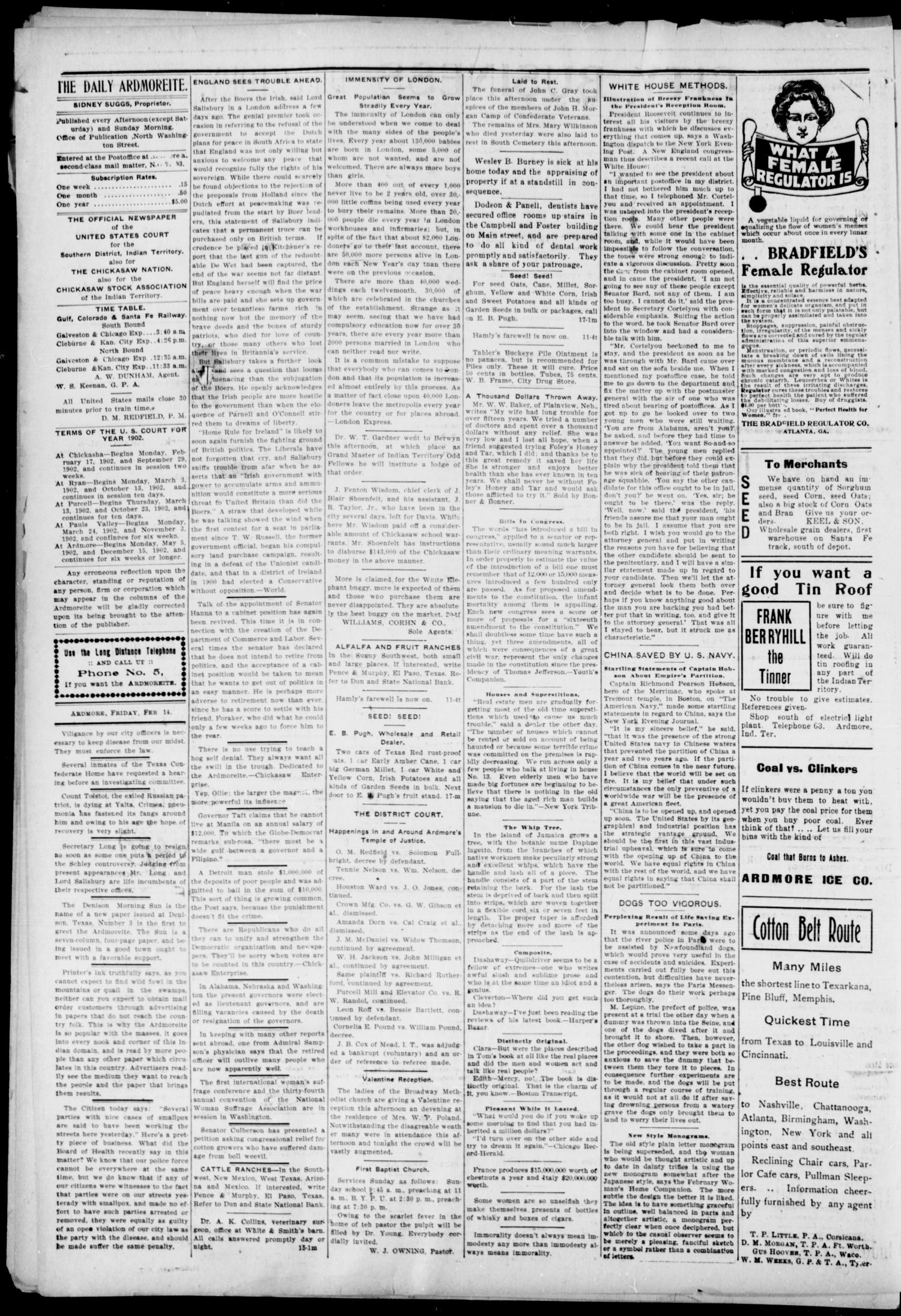 The Daily Ardmoreite. (Ardmore, Indian Terr.), Vol. 9, No. 90, Ed. 1, Friday, February 14, 1902                                                                                                      [Sequence #]: 4 of 8