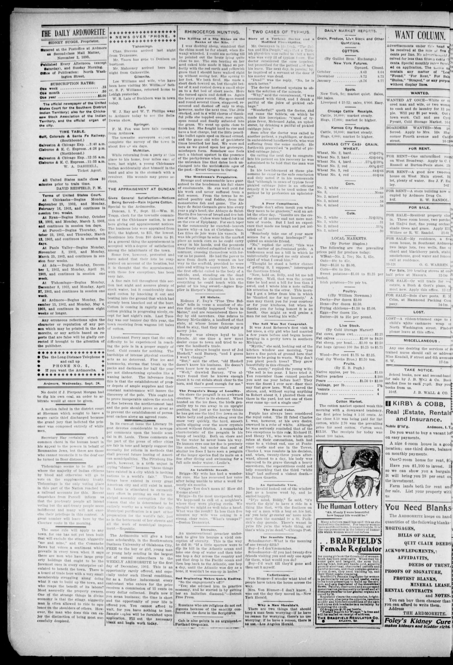 The Daily Ardmoreite. (Ardmore, Indian Terr.), Vol. 9, No. 273, Ed. 1, Wednesday, September 24, 1902                                                                                                      [Sequence #]: 4 of 8