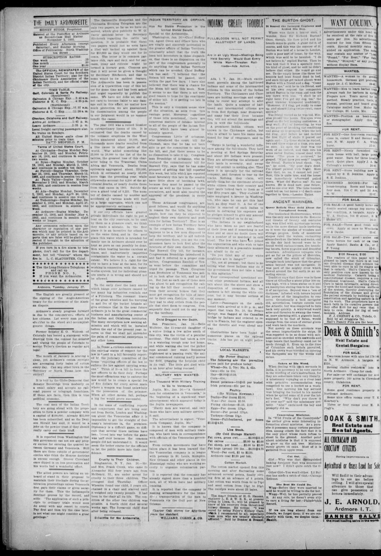 The Daily Ardmoreite. (Ardmore, Indian Terr.), Vol. 10, No. 69, Ed. 1, Tuesday, January 27, 1903                                                                                                      [Sequence #]: 4 of 8