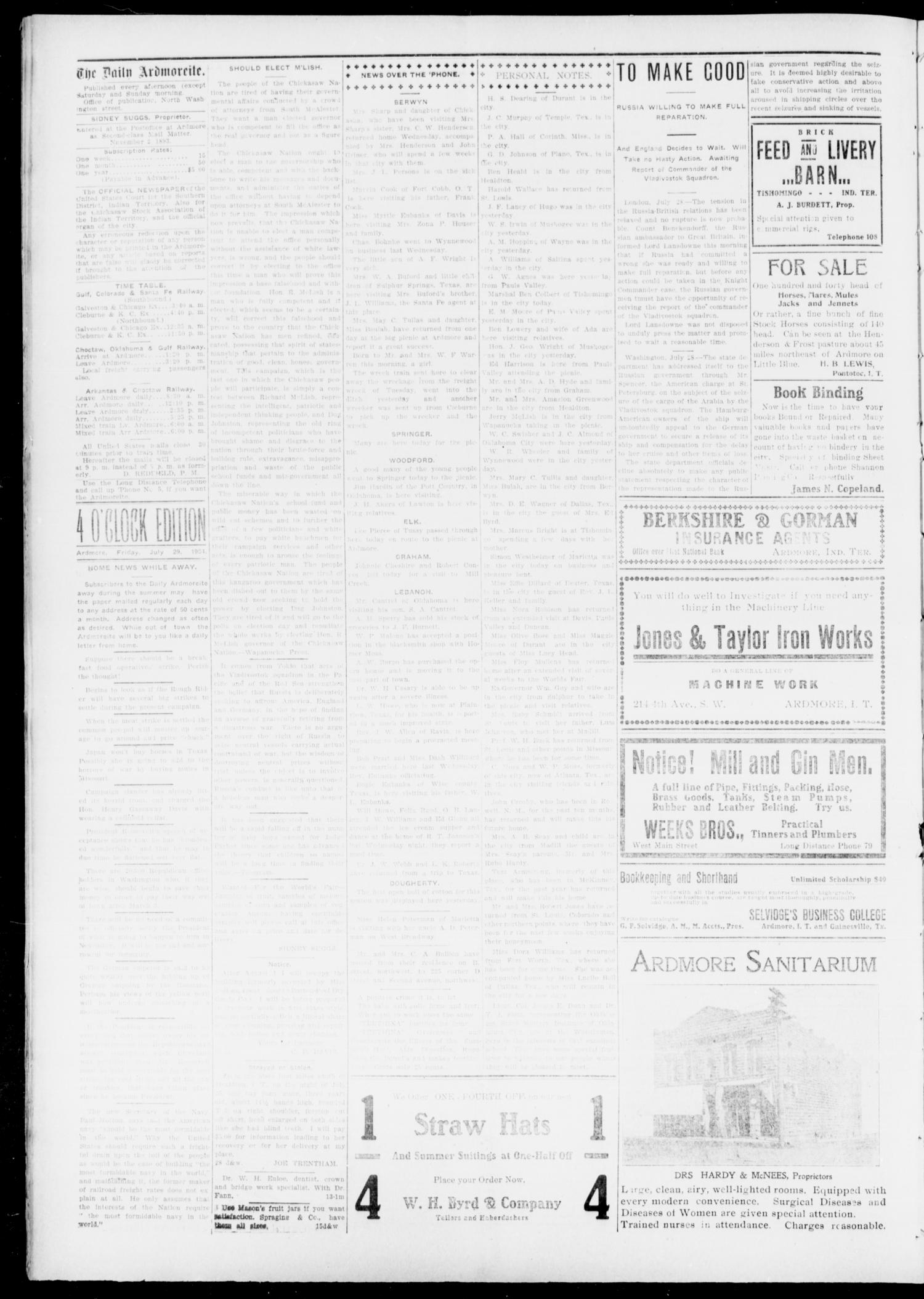 The Daily Ardmoreite. (Ardmore, Indian Terr.), Vol. 11, No. 226, Ed. 1, Friday, July 29, 1904                                                                                                      [Sequence #]: 4 of 8
