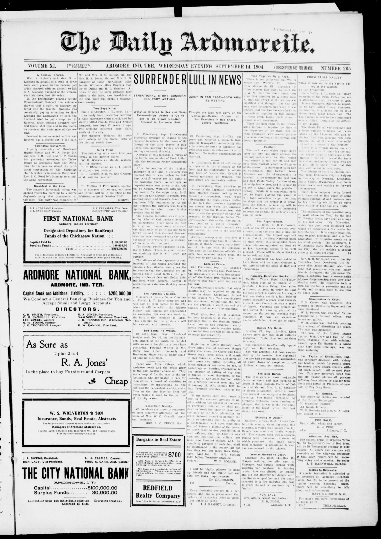 The Daily Ardmoreite. (Ardmore, Indian Terr.), Vol. 11, No. 265, Ed. 1, Wednesday, September 14, 1904                                                                                                      [Sequence #]: 1 of 8