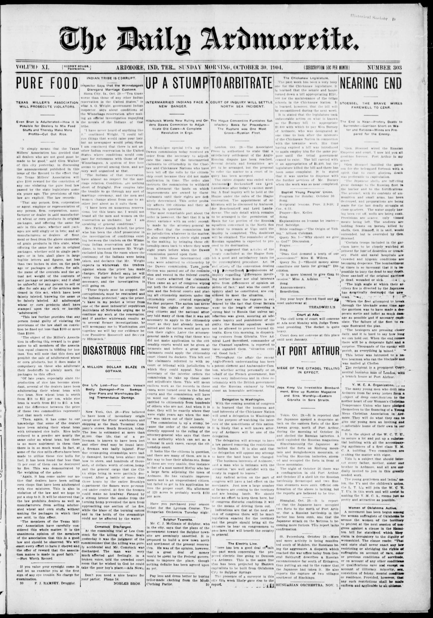 The Daily Ardmoreite. (Ardmore, Indian Terr.), Vol. 11, No. 303, Ed. 1, Sunday, October 30, 1904                                                                                                      [Sequence #]: 1 of 8