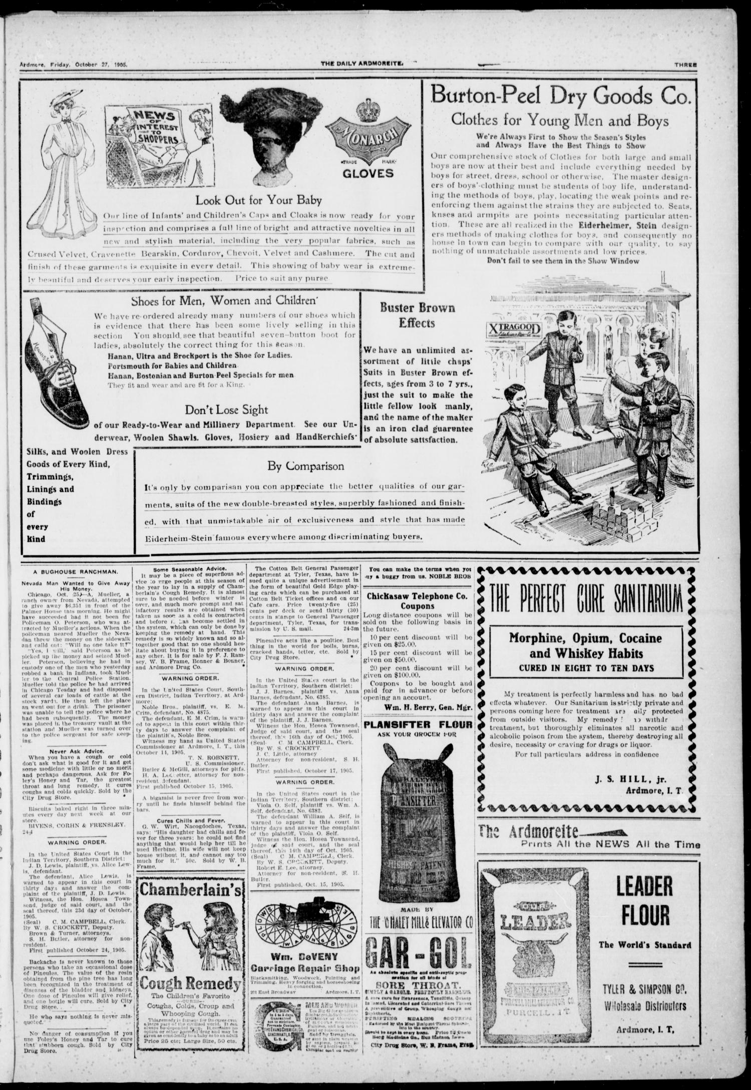The Daily Ardmoreite. (Ardmore, Indian Terr.), Vol. 12, No. 251, Ed. 1, Friday, October 27, 1905                                                                                                      [Sequence #]: 3 of 8