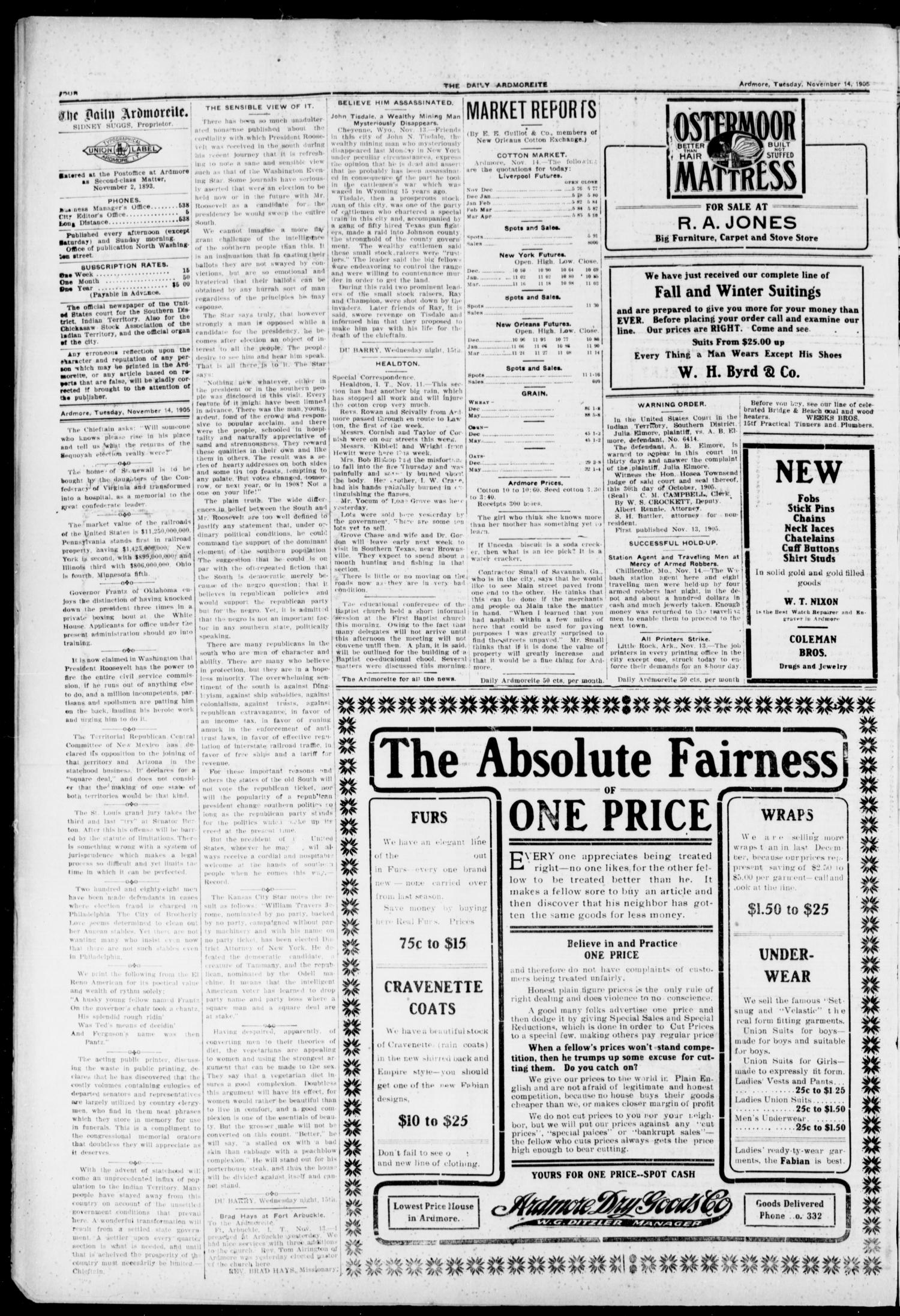 The Daily Ardmoreite. (Ardmore, Indian Terr.), Vol. 12, No. 266, Ed. 1, Tuesday, November 14, 1905                                                                                                      [Sequence #]: 4 of 8