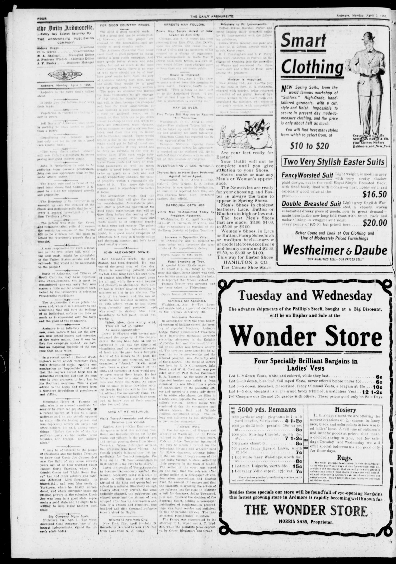 The Daily Ardmoreite. (Ardmore, Indian Terr.), Vol. 12, No. 278, Ed. 1, Monday, April 9, 1906                                                                                                      [Sequence #]: 4 of 8