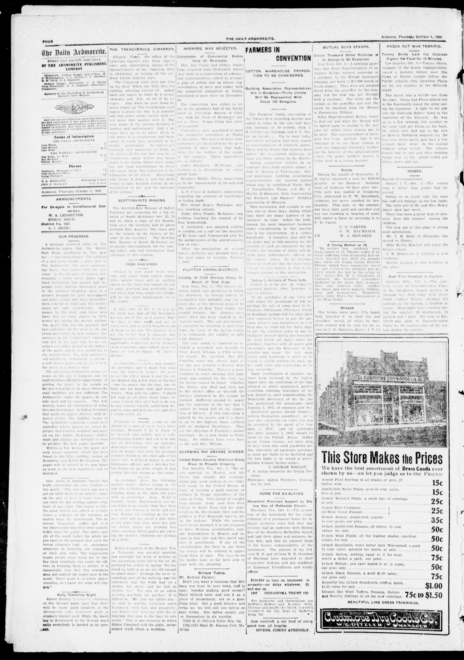The Daily Ardmoreite. (Ardmore, Indian Terr.), Vol. 13, No. 118, Ed. 1, Thursday, October 4, 1906                                                                                                      [Sequence #]: 4 of 8