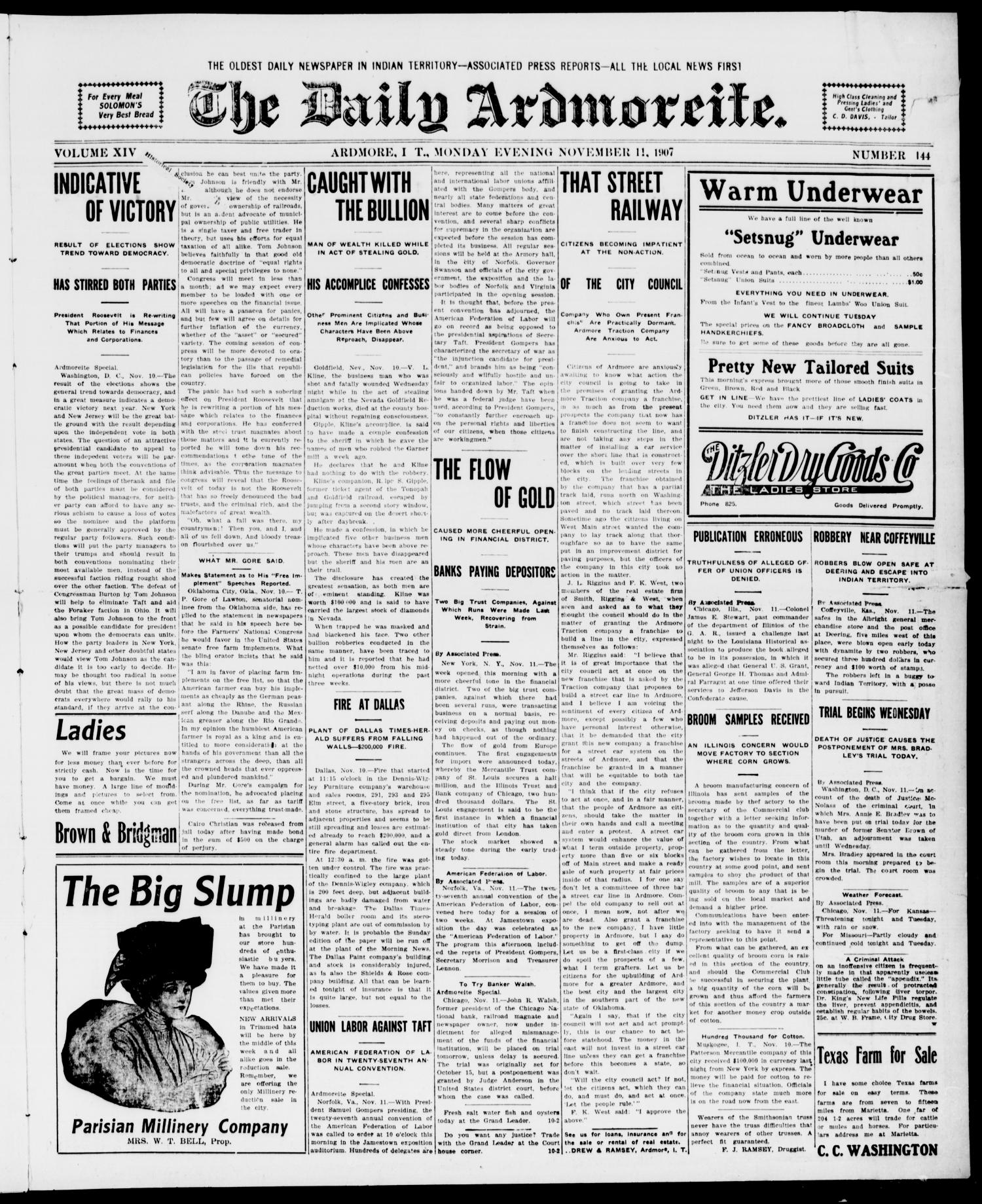 The Daily Ardmoreite. (Ardmore, Indian Terr.), Vol. 14, No. 144, Ed. 1, Monday, November 11, 1907                                                                                                      [Sequence #]: 1 of 8