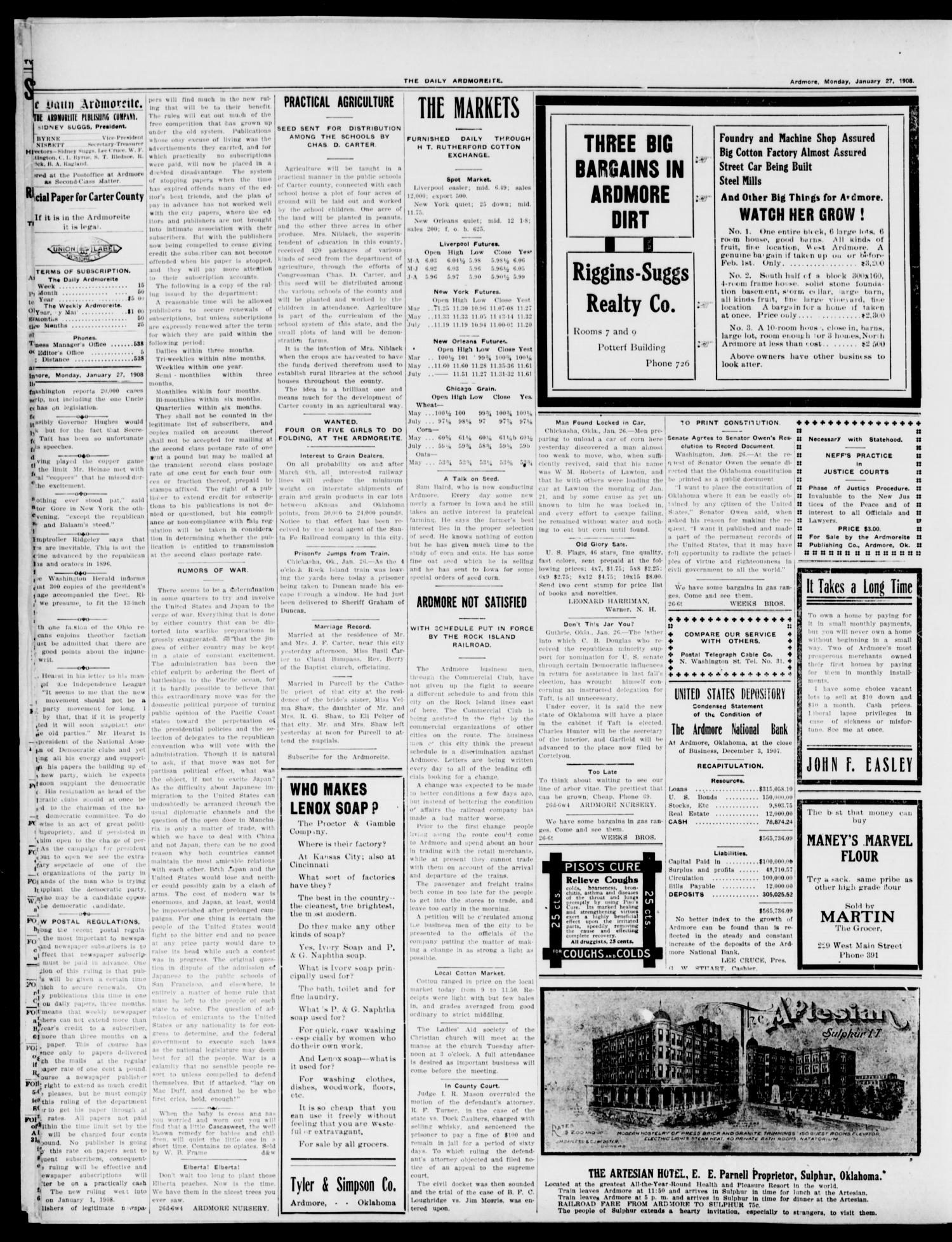 The Daily Ardmoreite. (Ardmore, Okla.), Vol. 14, No. 209, Ed. 1, Monday, January 27, 1908                                                                                                      [Sequence #]: 2 of 6