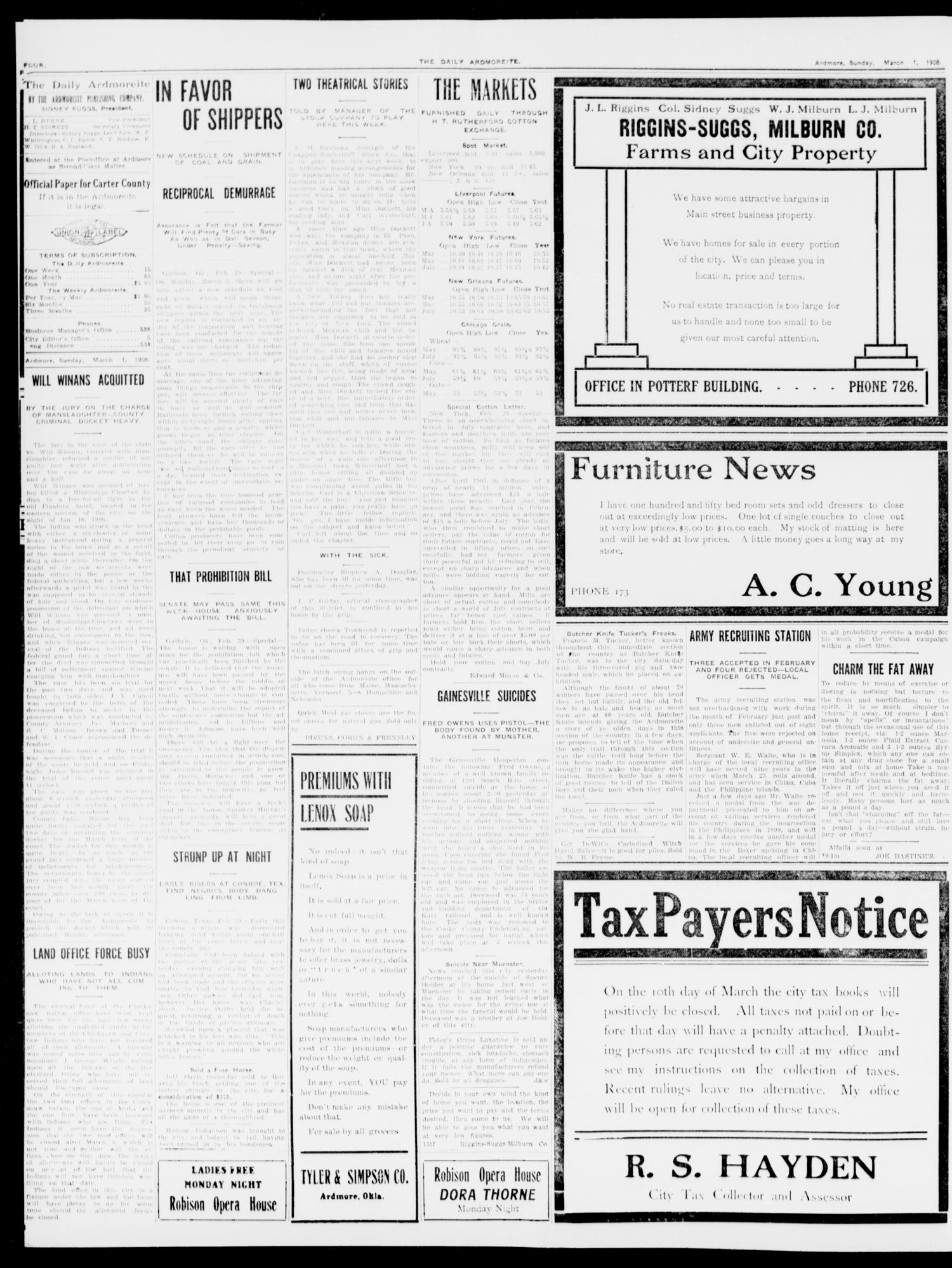 The Daily Ardmoreite. (Ardmore, Okla.), Vol. 14, No. 236, Ed. 1, Sunday, March 1, 1908                                                                                                      [Sequence #]: 4 of 8