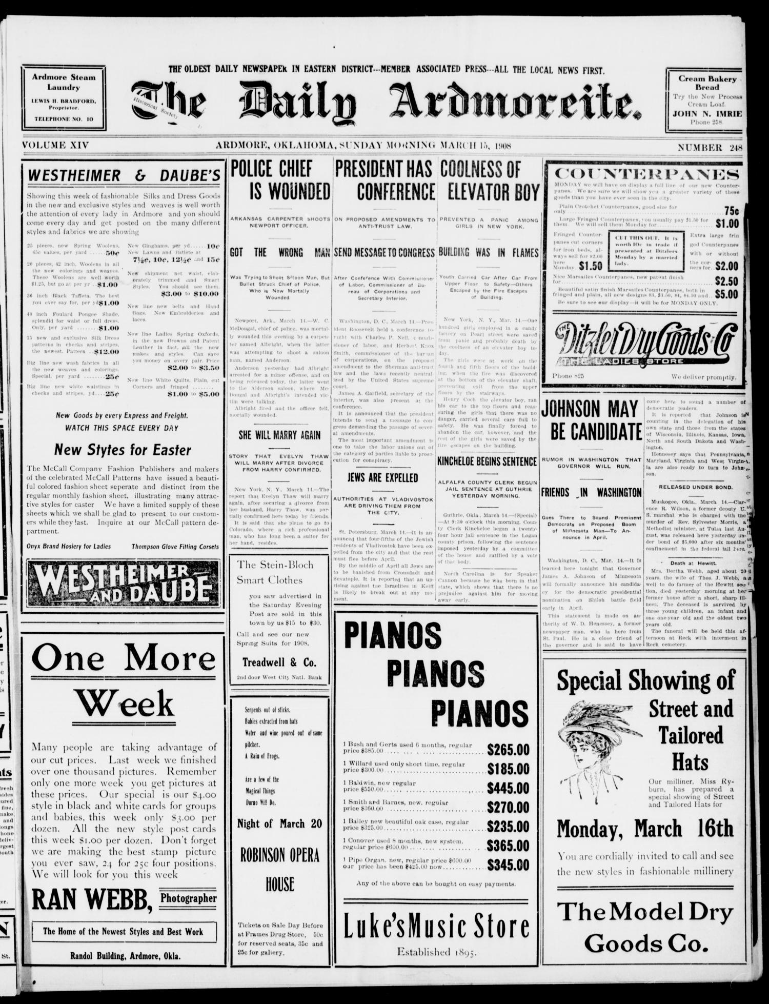 The Daily Ardmoreite. (Ardmore, Okla.), Vol. 14, No. 248, Ed. 1, Sunday, March 15, 1908                                                                                                      [Sequence #]: 1 of 12
