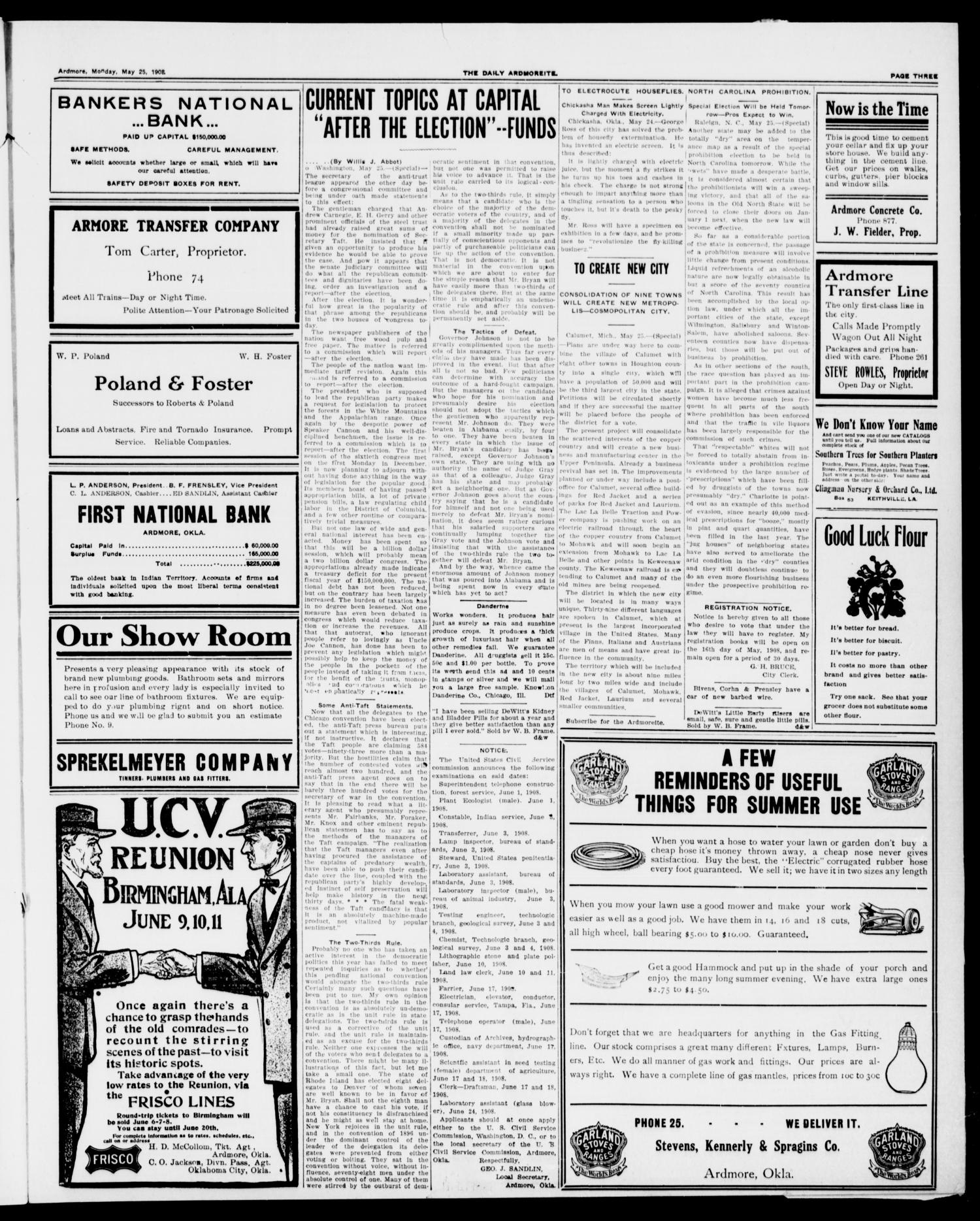 The Daily Ardmoreite. (Ardmore, Okla.), Vol. 14, No. 309, Ed. 1, Monday, May 25, 1908                                                                                                      [Sequence #]: 3 of 8