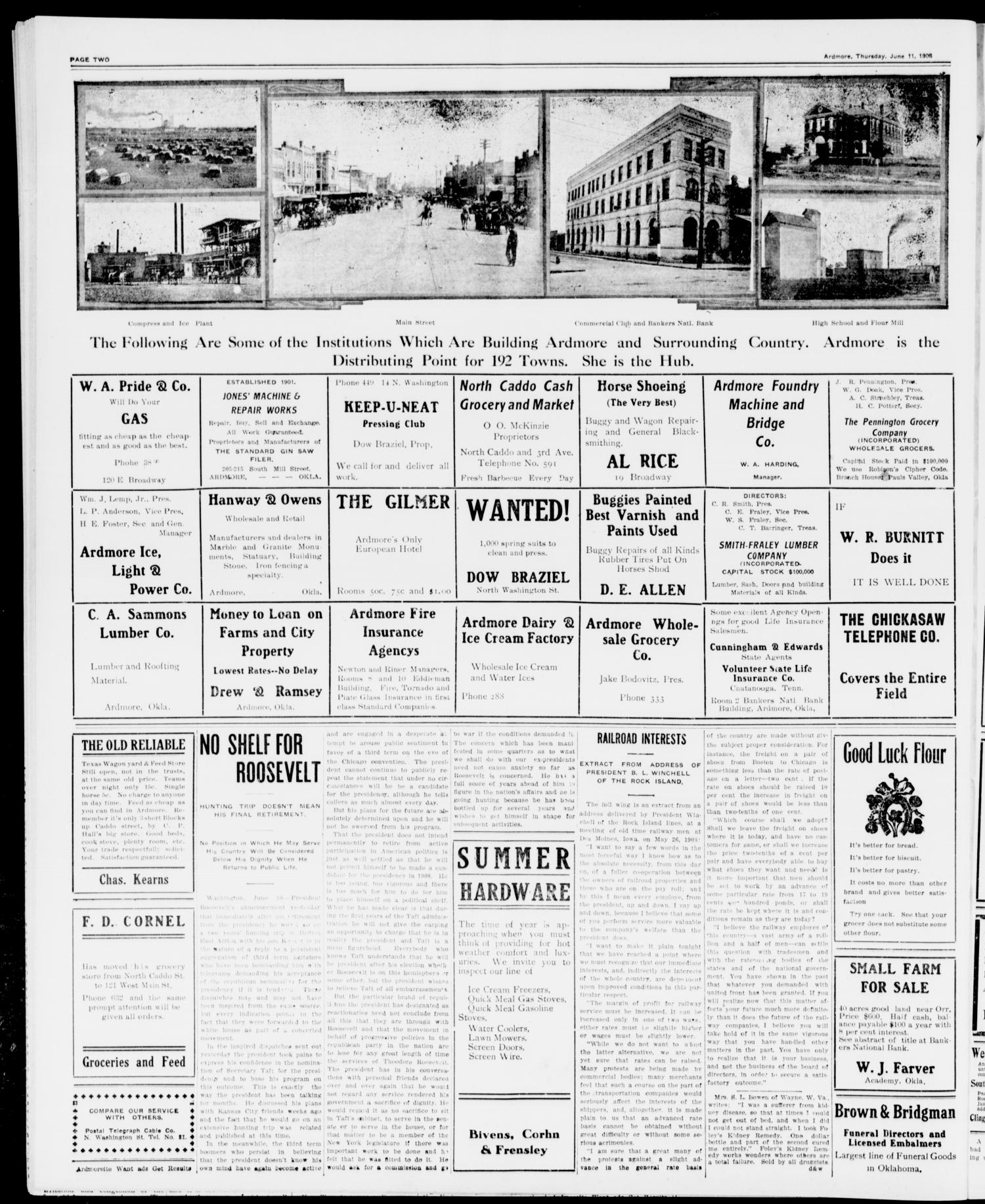 The Daily Ardmoreite. (Ardmore, Okla.), Vol. 15, No. 11, Ed. 1, Thursday, June 11, 1908                                                                                                      [Sequence #]: 2 of 8