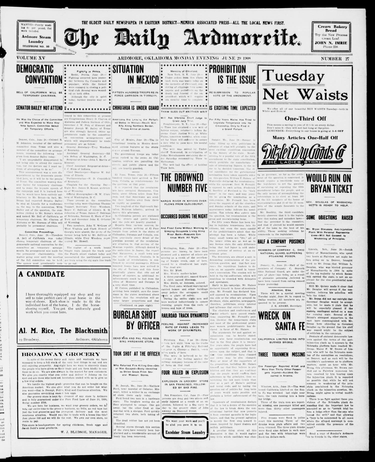 The Daily Ardmoreite. (Ardmore, Okla.), Vol. 15, No. 27, Ed. 1, Monday, June 29, 1908                                                                                                      [Sequence #]: 1 of 8