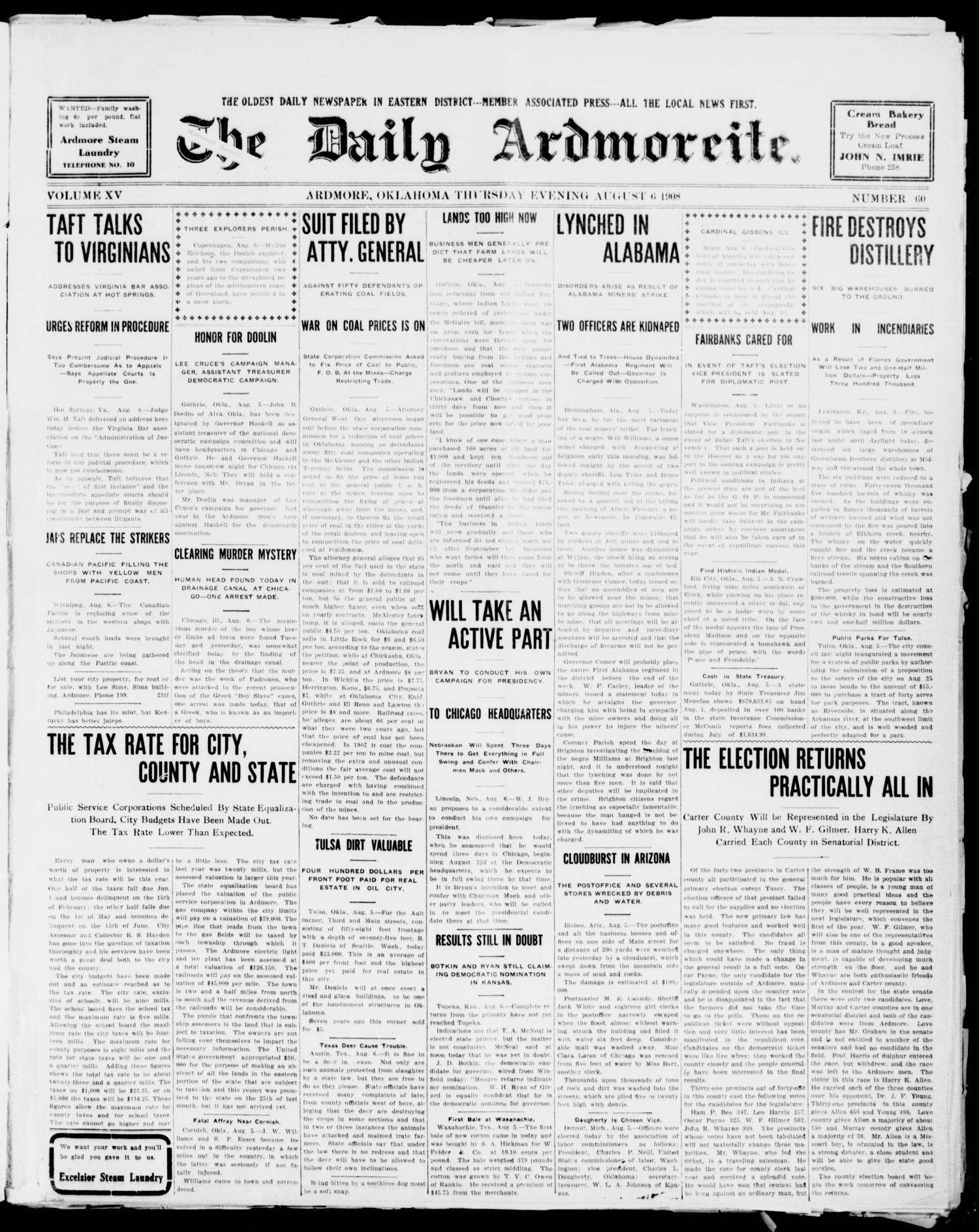 The Daily Ardmoreite. (Ardmore, Okla.), Vol. 15, No. 60, Ed. 1, Thursday, August 6, 1908                                                                                                      [Sequence #]: 1 of 8