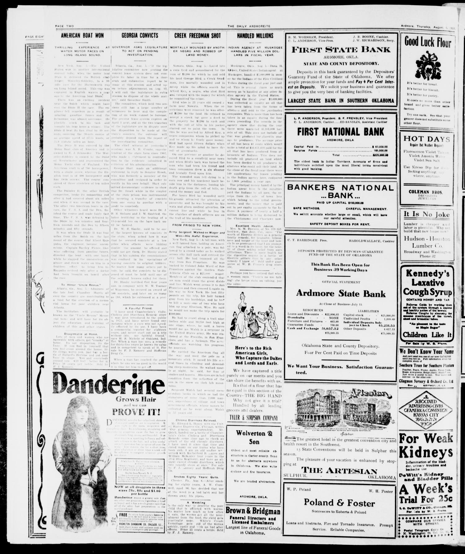 The Daily Ardmoreite. (Ardmore, Okla.), Vol. 15, No. 60, Ed. 1, Thursday, August 6, 1908                                                                                                      [Sequence #]: 2 of 8