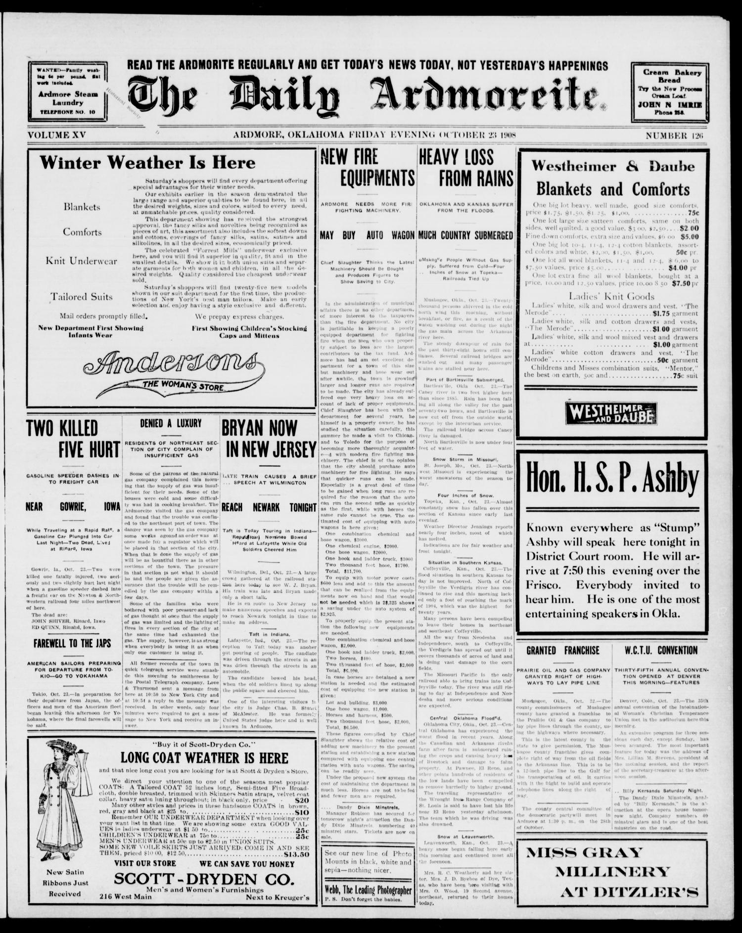 The Daily Ardmoreite. (Ardmore, Okla.), Vol. 15, No. 126, Ed. 1, Friday, October 23, 1908                                                                                                      [Sequence #]: 1 of 8