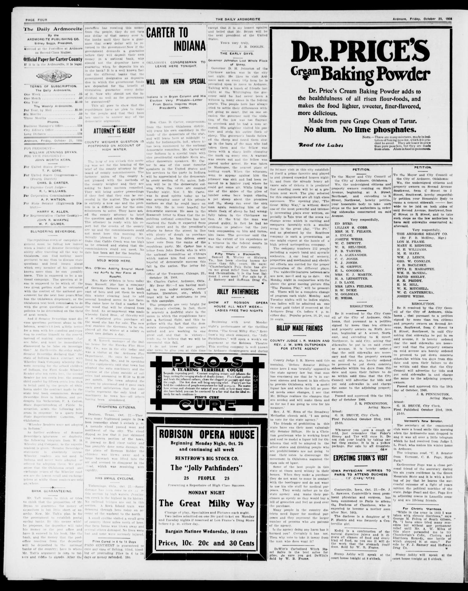 The Daily Ardmoreite. (Ardmore, Okla.), Vol. 15, No. 126, Ed. 1, Friday, October 23, 1908                                                                                                      [Sequence #]: 4 of 8