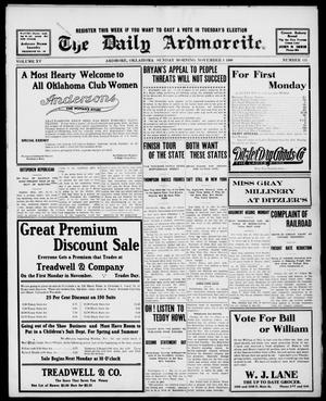 Primary view of object titled 'The Daily Ardmoreite. (Ardmore, Okla.), Vol. 15, No. 133, Ed. 1, Sunday, November 1, 1908'.