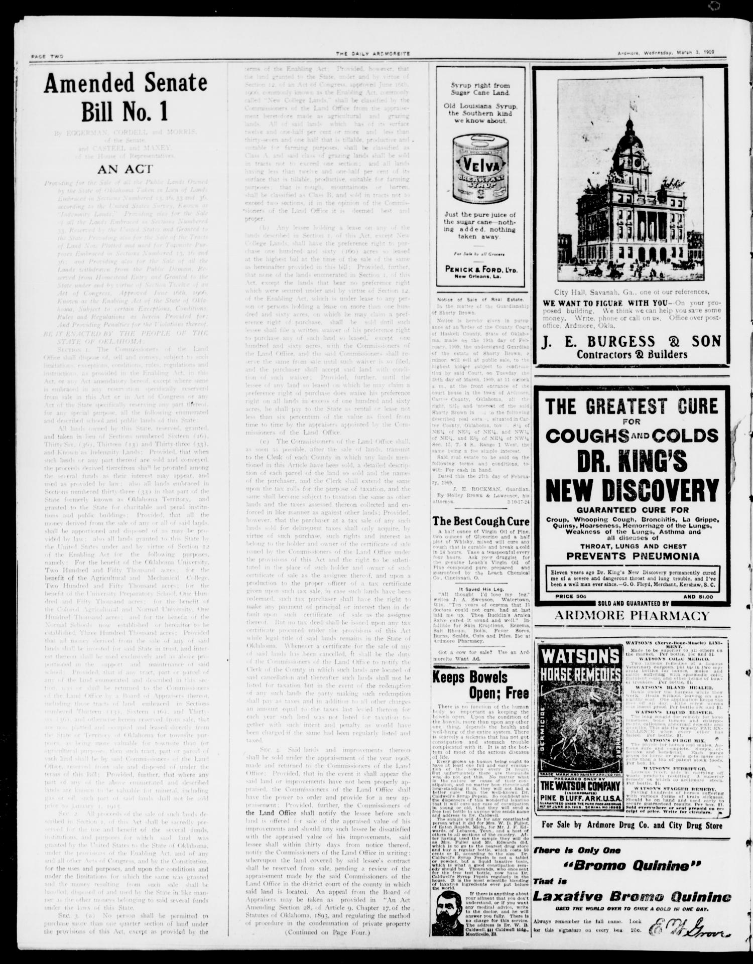 The Daily Ardmoreite. (Ardmore, Okla.), Vol. 15, No. 229, Ed. 1, Wednesday, March 3, 1909                                                                                                      [Sequence #]: 2 of 8