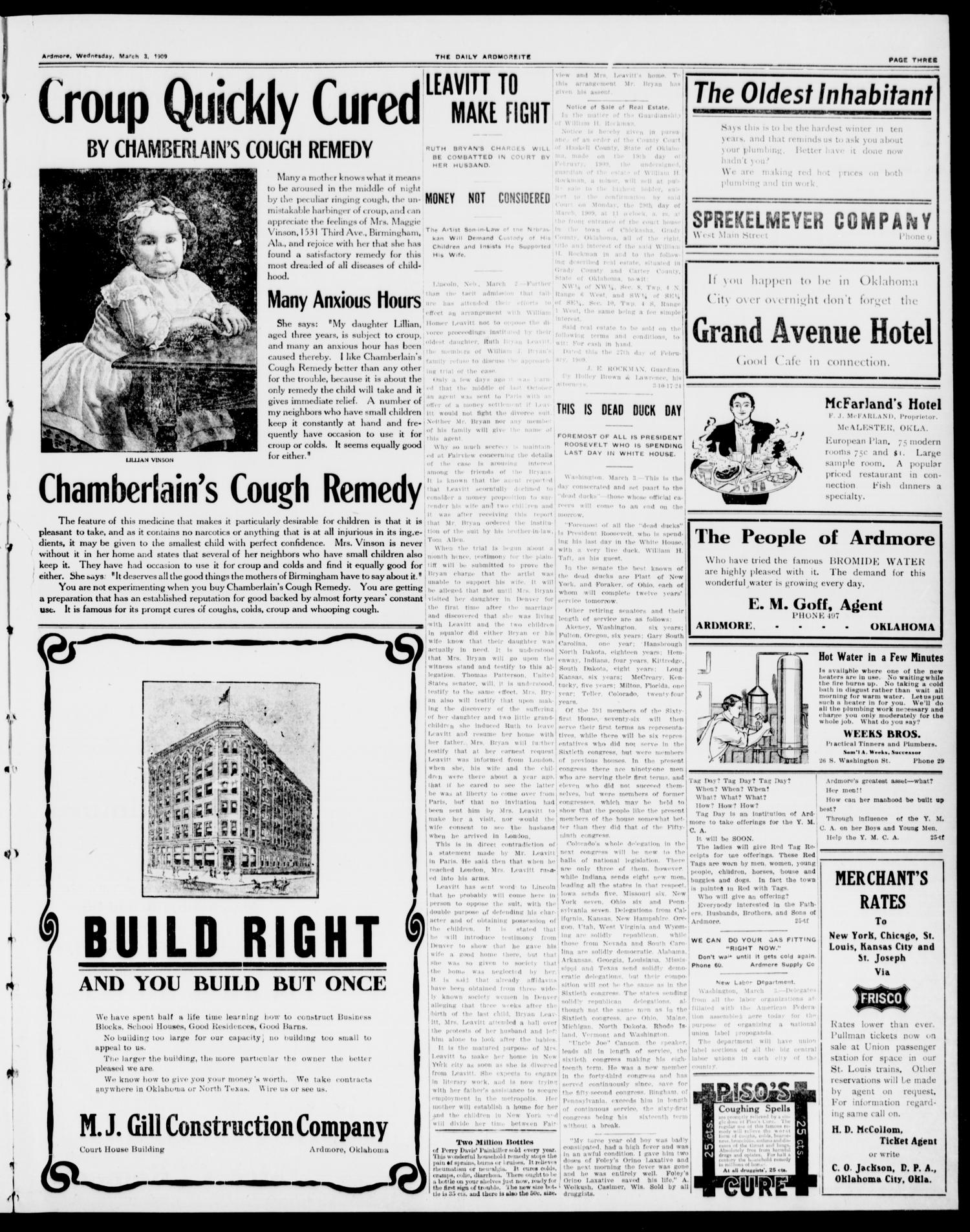 The Daily Ardmoreite. (Ardmore, Okla.), Vol. 15, No. 229, Ed. 1, Wednesday, March 3, 1909                                                                                                      [Sequence #]: 3 of 8