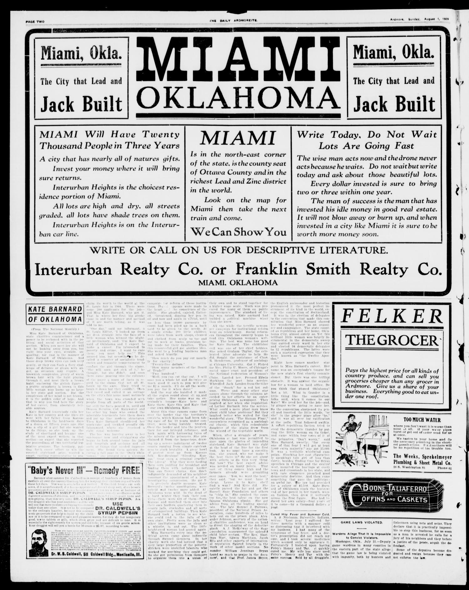 The Daily Ardmoreite. (Ardmore, Okla.), Vol. 16, No. 47, Ed. 1, Sunday, August 1, 1909                                                                                                      [Sequence #]: 2 of 8