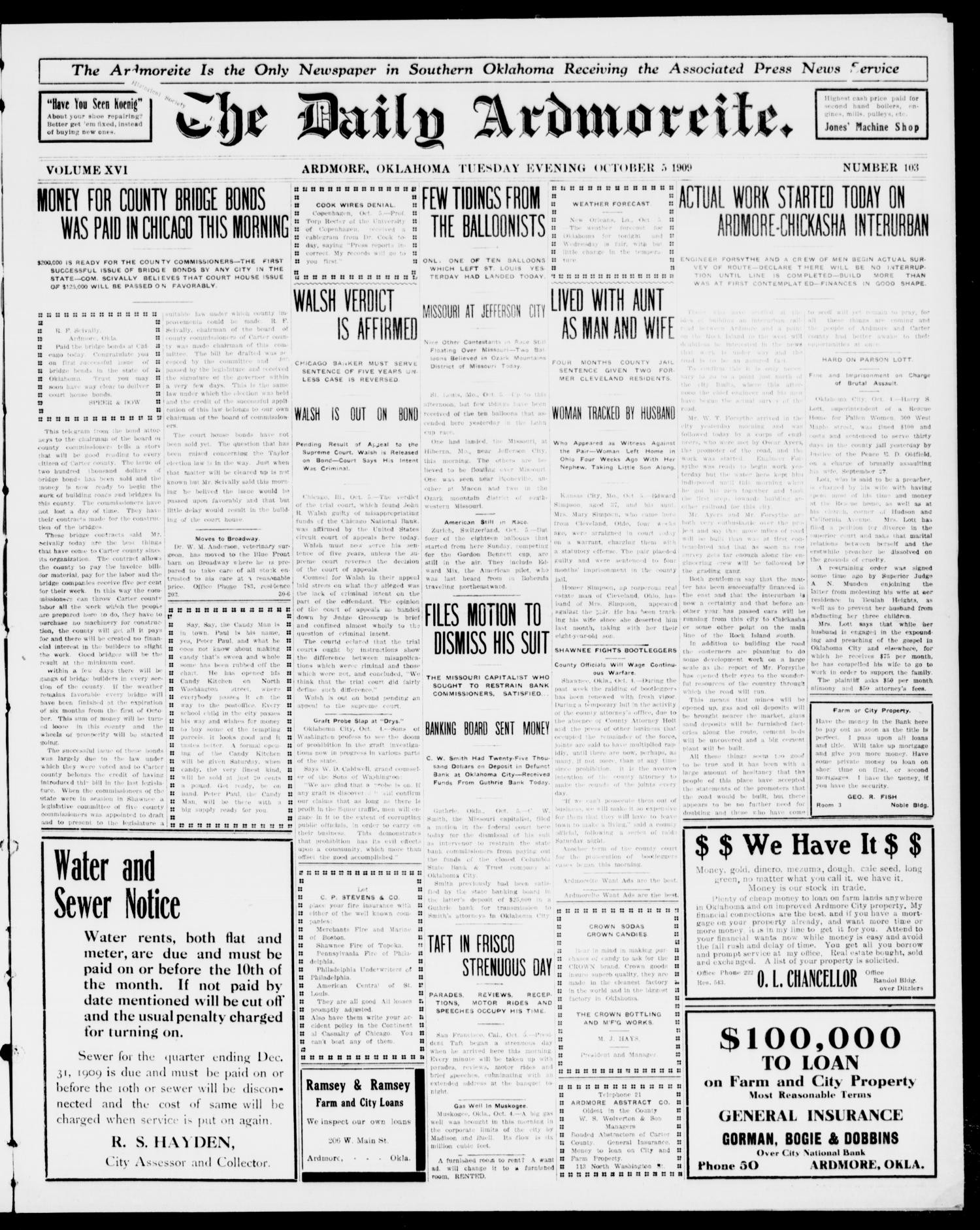 The Daily Ardmoreite. (Ardmore, Okla.), Vol. 16, No. 103, Ed. 1, Tuesday, October 5, 1909                                                                                                      [Sequence #]: 1 of 8