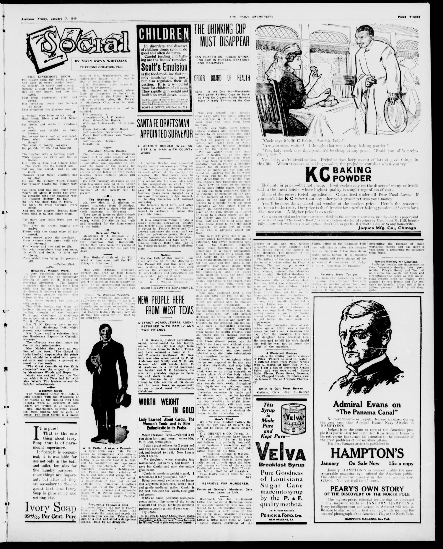 The Daily Ardmoreite. (Ardmore, Okla.), Vol. 16, No. 184, Ed. 1, Friday, January 7, 1910                                                                                                      [Sequence #]: 3 of 8