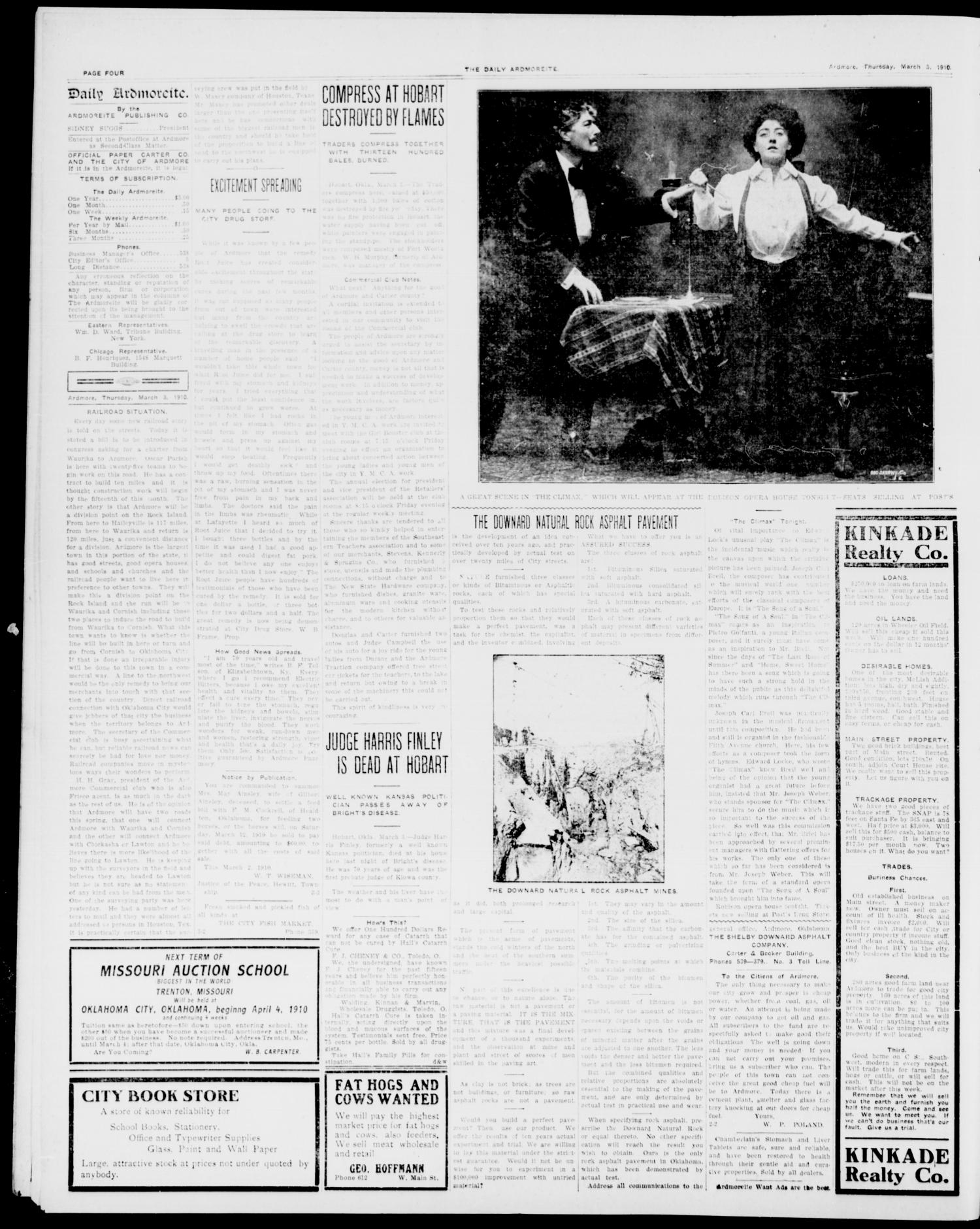 The Daily Ardmoreite. (Ardmore, Okla.), Vol. 16, No. 230, Ed. 1, Thursday, March 3, 1910                                                                                                      [Sequence #]: 4 of 8