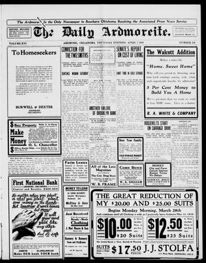 Primary view of object titled 'The Daily Ardmoreite. (Ardmore, Okla.), Vol. 16, No. 260, Ed. 1, Thursday, April 7, 1910'.