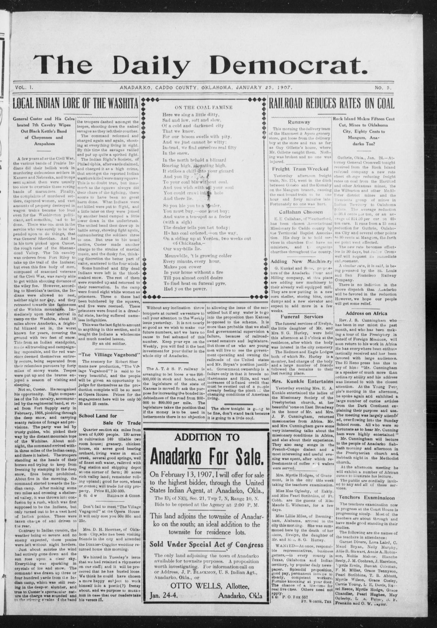 The Daily Democrat. (Anadarko, Okla.), Vol. 1, No. 5, Ed. 1, Friday, January 25, 1907                                                                                                      [Sequence #]: 1 of 4