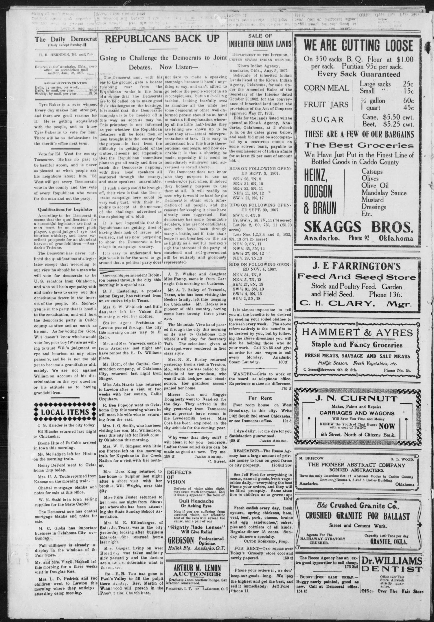 The Daily Democrat. (Anadarko, Okla.), Vol. 1, No. 183, Ed. 1, Saturday, August 24, 1907                                                                                                      [Sequence #]: 4 of 4