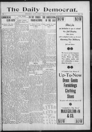 Primary view of object titled 'The Daily Democrat. (Anadarko, Okla.), Vol. 1, No. 210, Ed. 1, Wednesday, September 25, 1907'.