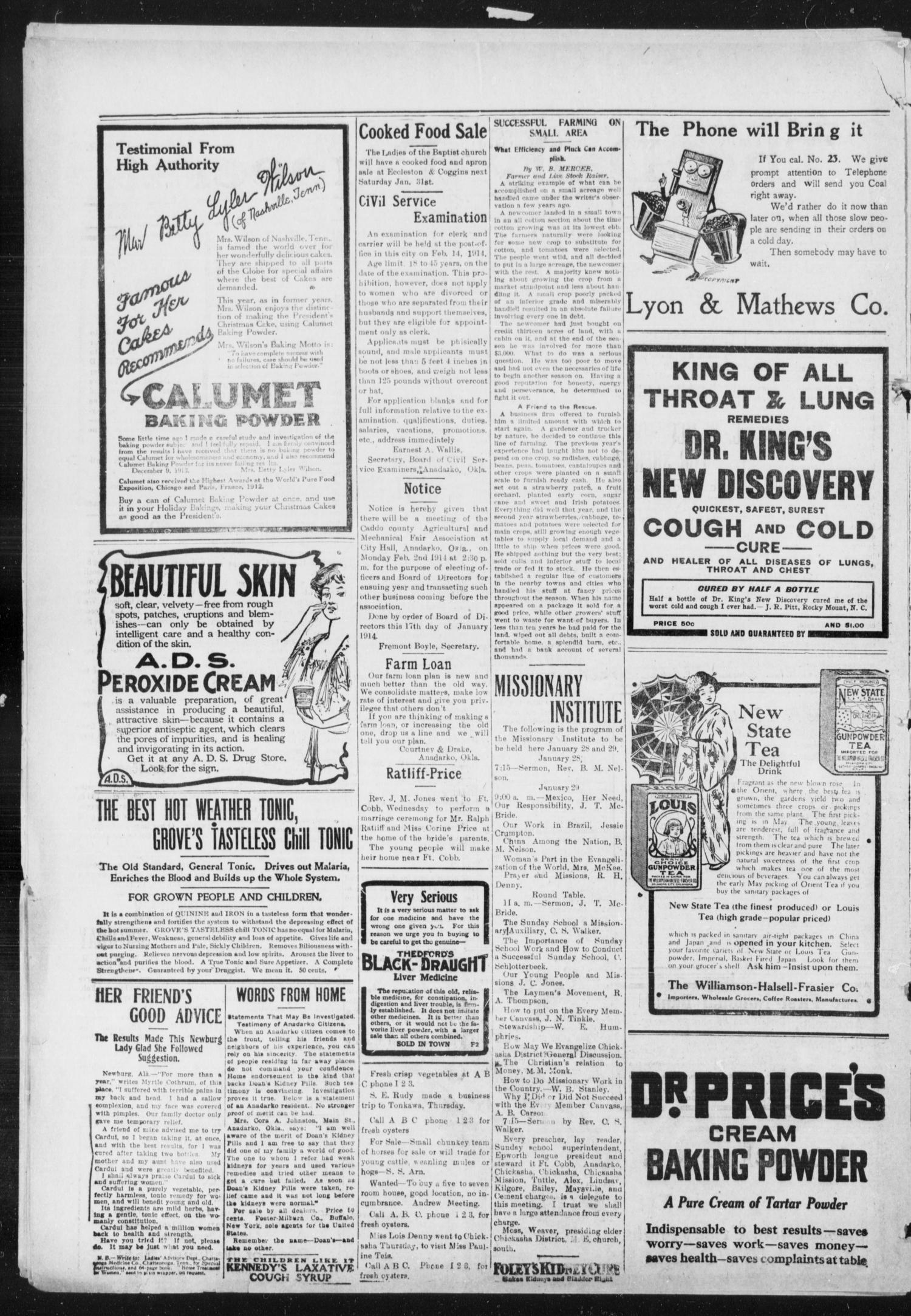 The Daily Democrat (Anadarko, Okla.), Vol. 13, No. 84, Ed. 1, Friday, January 30, 1914                                                                                                      [Sequence #]: 2 of 4