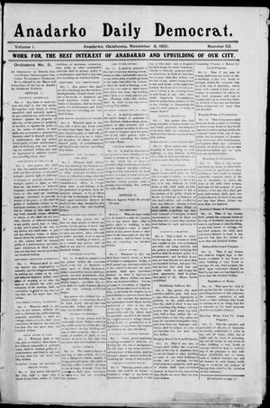 Primary view of object titled 'Anadarko Daily Democrat. (Anadarko, Okla.), Vol. 1, No. 52, Ed. 1, Friday, November 8, 1901'.