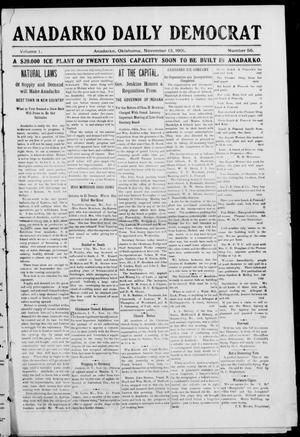 Primary view of object titled 'Anadarko Daily Democrat (Anadarko, Okla.), Vol. 1, No. 56, Ed. 1, Wednesday, November 13, 1901'.