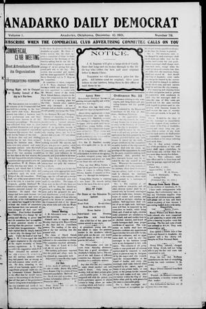 Primary view of object titled 'Anadarko Daily Democrat (Anadarko, Okla.), Vol. 1, No. 78, Ed. 1, Tuesday, December 10, 1901'.