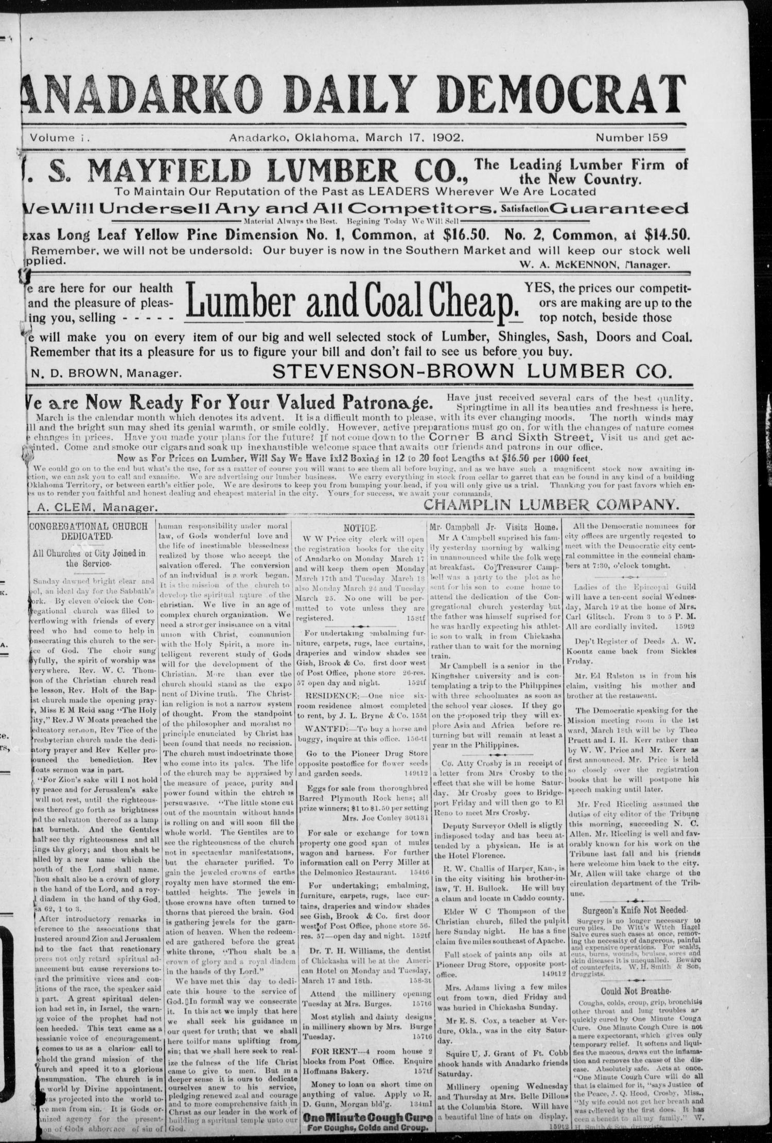 Anadarko Daily Democrat (Anadarko, Okla.), Vol. 1, No. 159, Ed. 1, Monday, March 17, 1902                                                                                                      [Sequence #]: 1 of 8