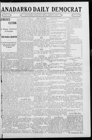 Primary view of object titled 'Anadarko Daily Democrat (Anadarko, Okla.), Vol. 1, No. 193, Ed. 1, Friday, April 25, 1902'.