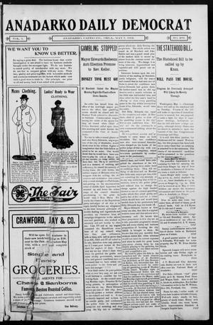 Primary view of object titled 'Anadarko Daily Democrat (Anadarko, Okla.), Vol. 1, No. 203, Ed. 1, Wednesday, May 7, 1902'.