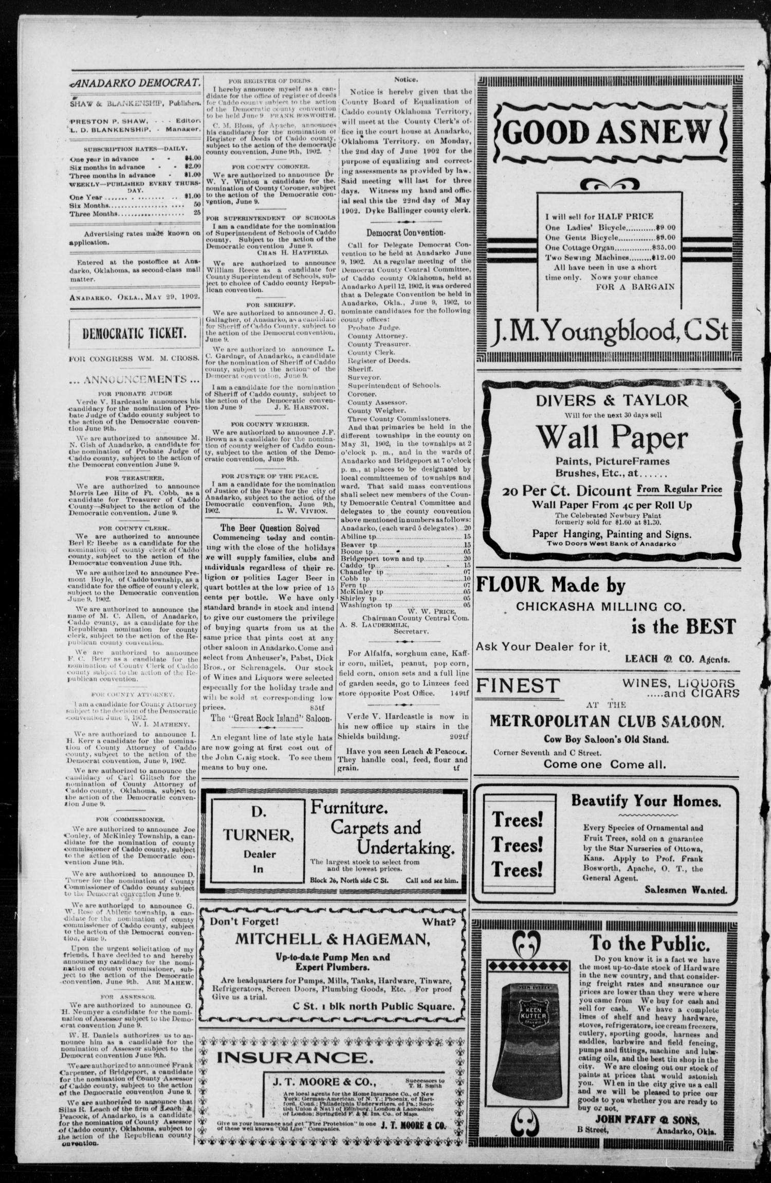Anadarko Daily Democrat. (Anadarko, Okla.), Vol. 1, No. 222, Ed. 1, Thursday, May 29, 1902                                                                                                      [Sequence #]: 4 of 8