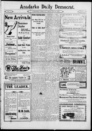 Primary view of object titled 'Anadarko Daily Democrat. (Anadarko, Okla.), Vol. 1, No. 241, Ed. 1, Friday, June 20, 1902'.