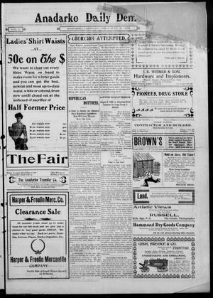 Primary view of object titled 'Anadarko Daily Democrat. (Anadarko, Okla.), Vol. 1, Ed. 1, Thursday, July 31, 1902'.
