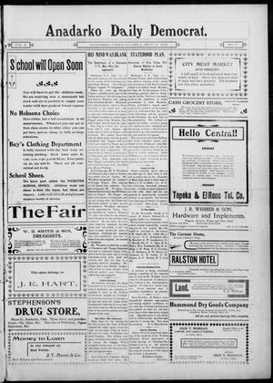 Primary view of object titled 'Anadarko Daily Democrat. (Anadarko, Okla.), Vol. 2, No. 17, Ed. 1, Wednesday, September 17, 1902'.