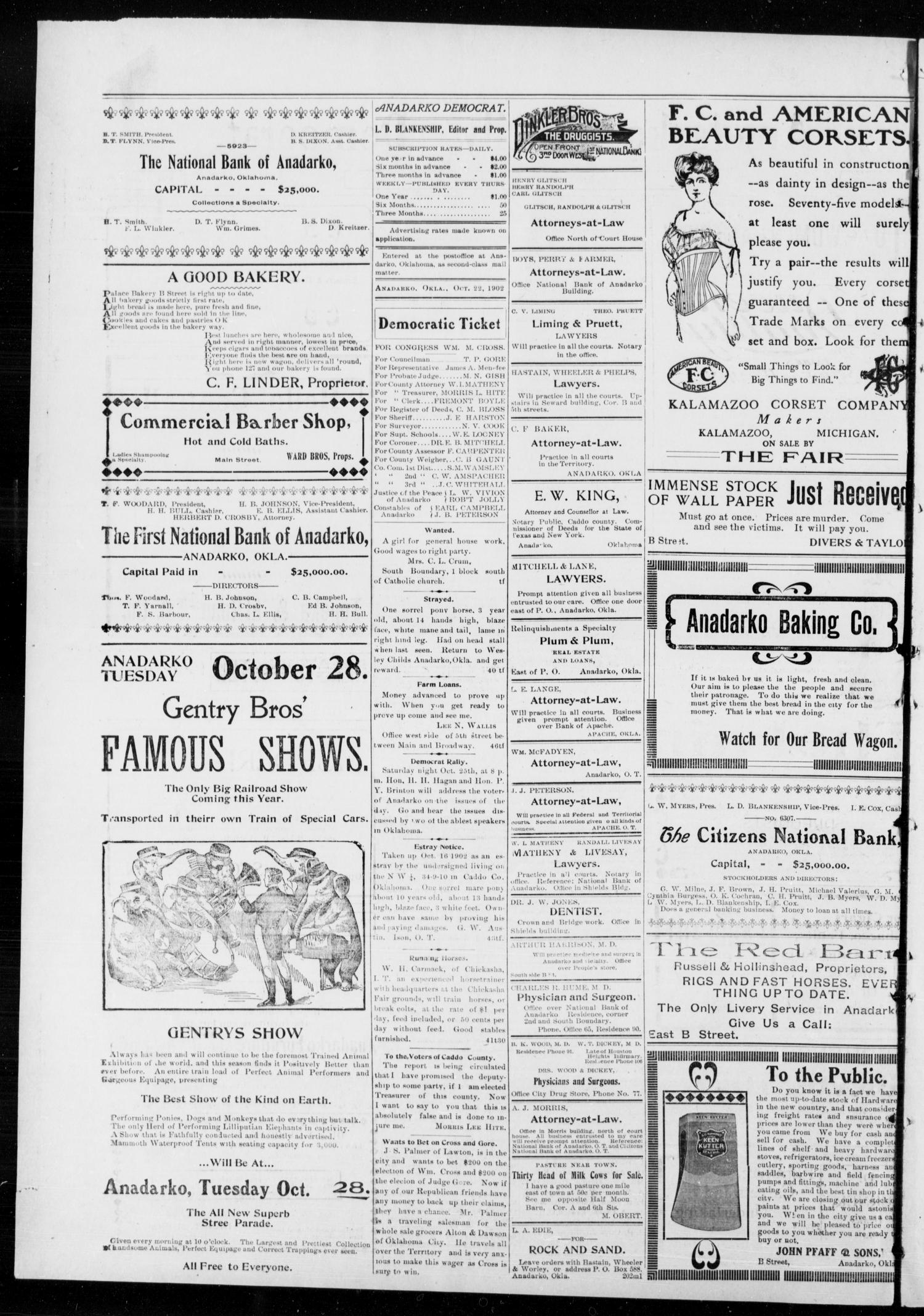 Anadarko Daily Democrat. (Anadarko, Okla.), Vol. 2, No. 48, Ed. 1, Wednesday, October 22, 1902                                                                                                      [Sequence #]: 2 of 4