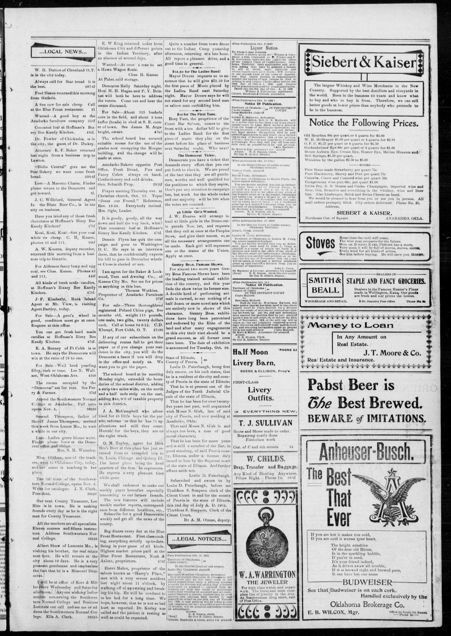 Anadarko Daily Democrat. (Anadarko, Okla.), Vol. 2, No. 48, Ed. 1, Wednesday, October 22, 1902                                                                                                      [Sequence #]: 3 of 4