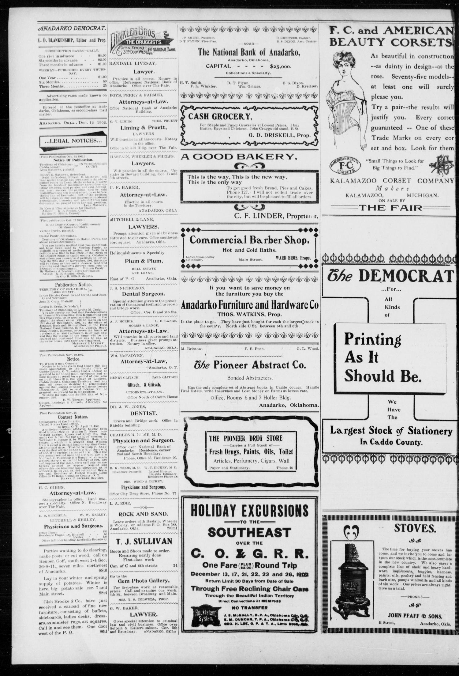 Anadarko Daily Democrat. (Anadarko, Okla.), Vol. 2, No. 92, Ed. 1, Friday, December 12, 1902                                                                                                      [Sequence #]: 4 of 8