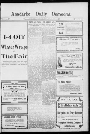 Primary view of object titled 'Anadarko Daily Democrat. (Anadarko, Okla.), Vol. 2, No. 95, Ed. 1, Tuesday, December 16, 1902'.