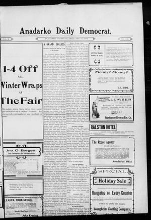 Primary view of object titled 'Anadarko Daily Democrat. (Anadarko, Okla.), Vol. 2, No. 102, Ed. 1, Wednesday, December 24, 1902'.